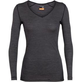 Icebreaker 200 Oasis LS V-Neck Shirt Women Black/Snow/Stripe